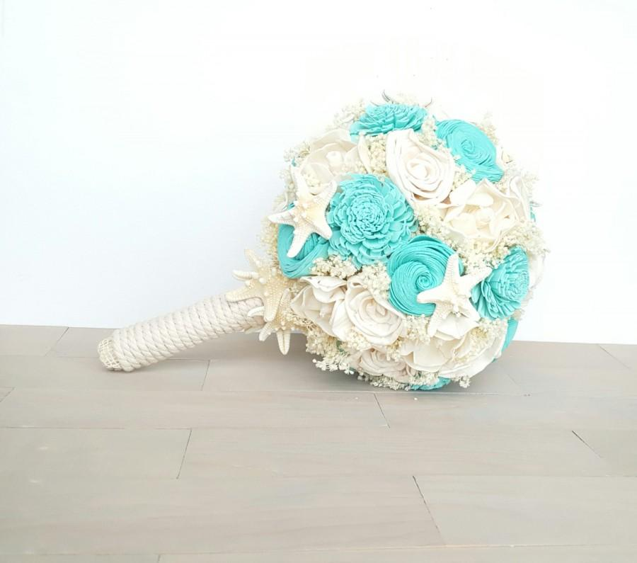 Mariage - Shell Beach Wedding Bouquet, Davids Bridal Spa, Starfish Bouquet, Nautical Wedding
