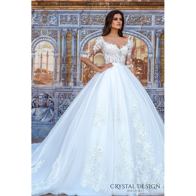 715c21e6f7 Crystal Design 2017 Ezleonor Royal Train Sweet White Illusion Ball Gown 1 2  Sleeves Hand-made Flowers Tulle Bridal Dress - Crazy Sale Bridal Dresses