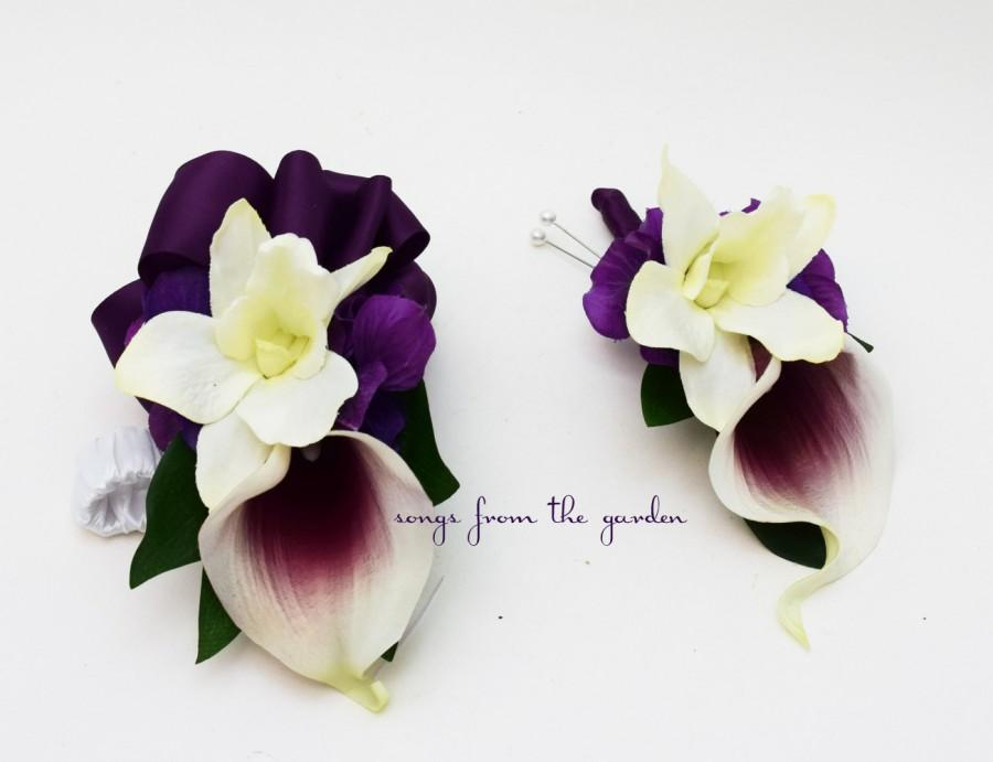 Hochzeit - Real Touch Picasso Calla Lily White Orchid Boutonniere Corsage Wedding Flowers Plum Ribbon - Wedding Prom Homecoming Corsage Boutonniere