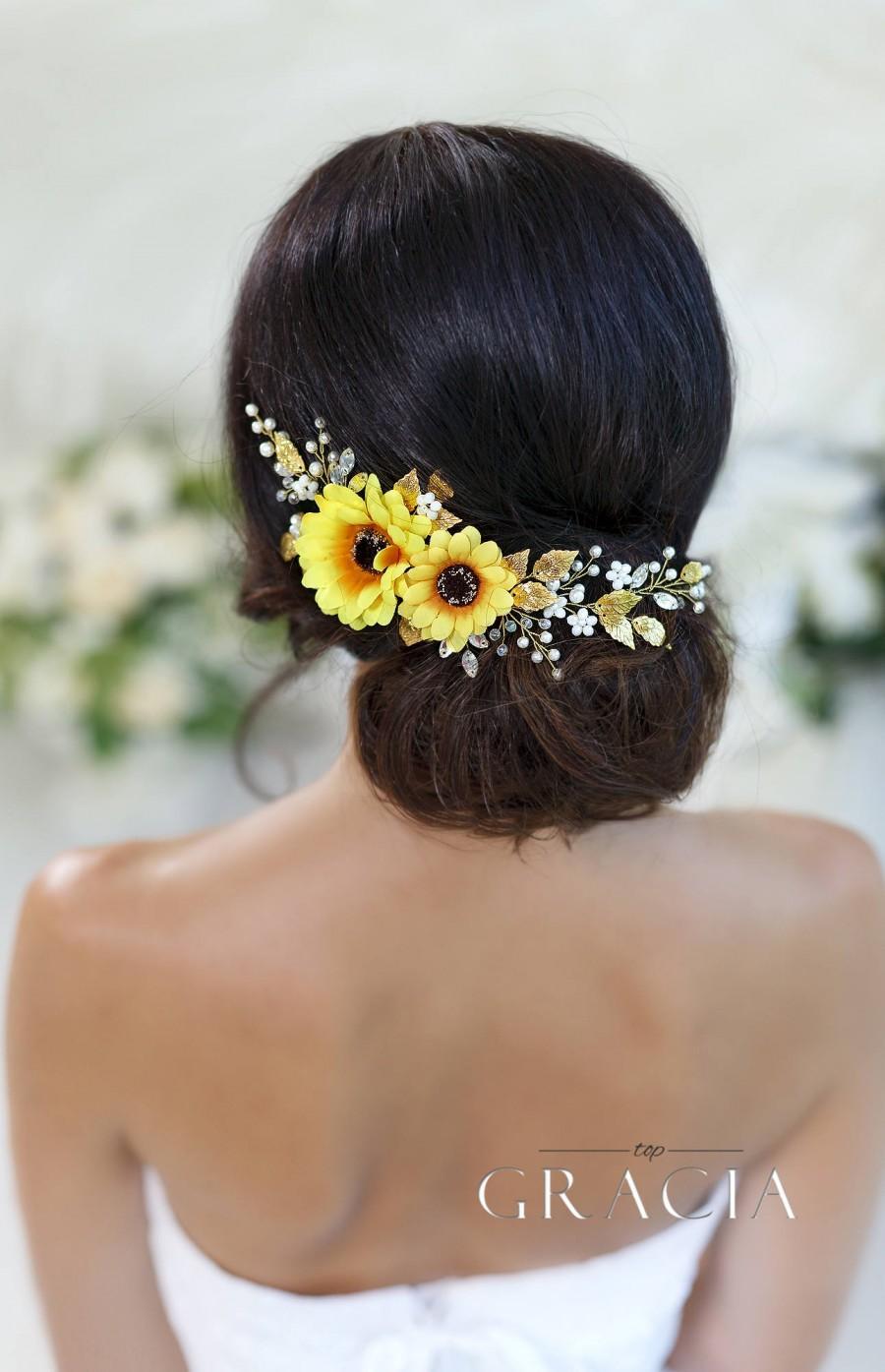 Hochzeit - Sunflower bridal headpiece Sunflower hair comb Sunflower headband Flower crown Sunflower wedding headpiece Fall floral crown Fall wedding