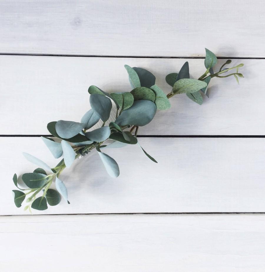 Hochzeit - Eucalyptus Greenery Hair Piece / Bridal Hair Piece / Bridesmaid Greenery Hair Piece / Natural Hair Piece / High Quality Hair Comb / Bohemian