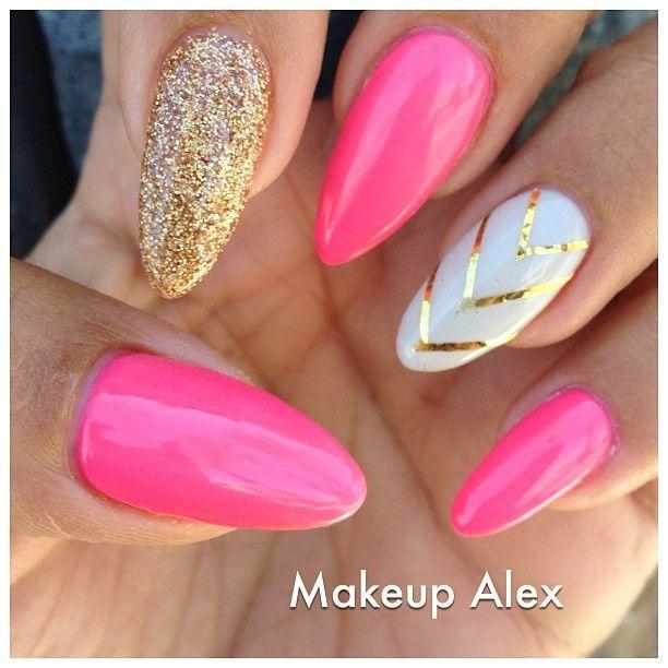 Nail Pink Stiletto Nail Designs To Adore 2827604 Weddbook