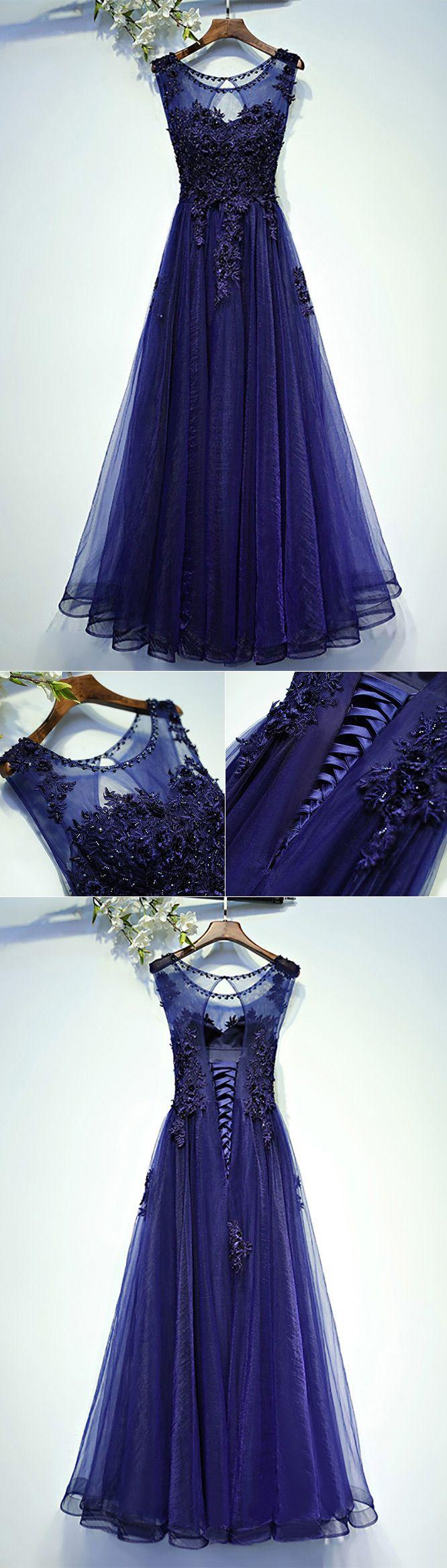 Mariage - Navy Blue Lace Tulle Long Prom Dress A Line Sleeveless - $118 #MYX18019 - SheProm.com