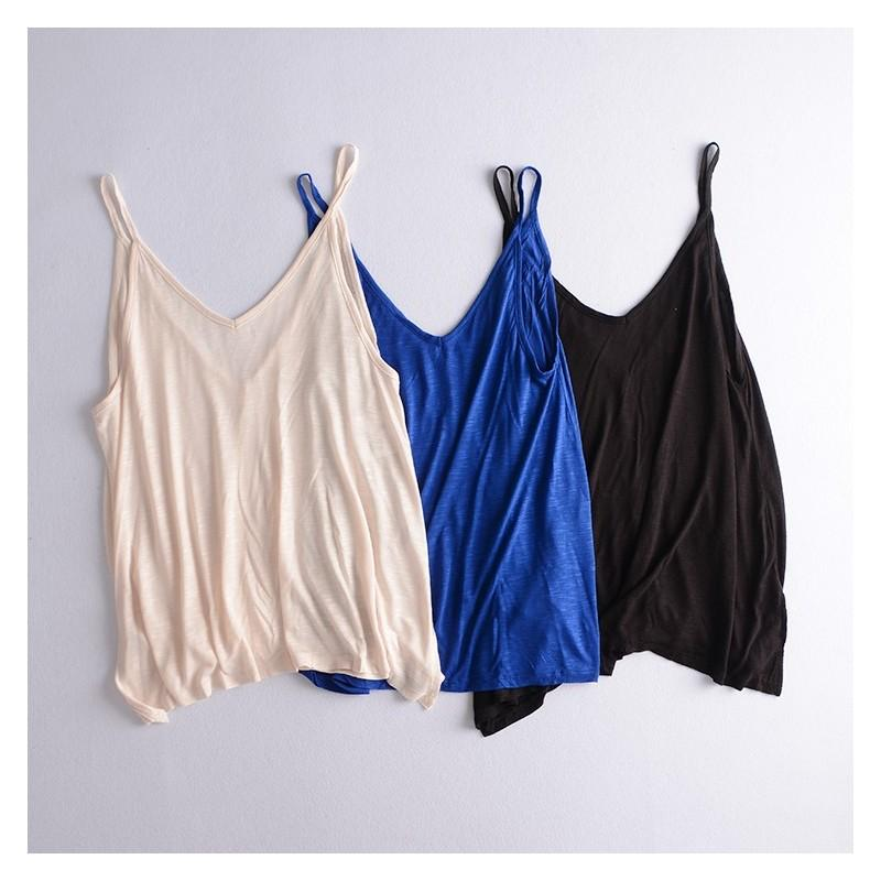 Wedding - Oversized Slimming V-neck Sleeveless Cotton Flexible T-shirt Top Sleeveless Top Strappy Top Basics - Discount Fashion in beenono