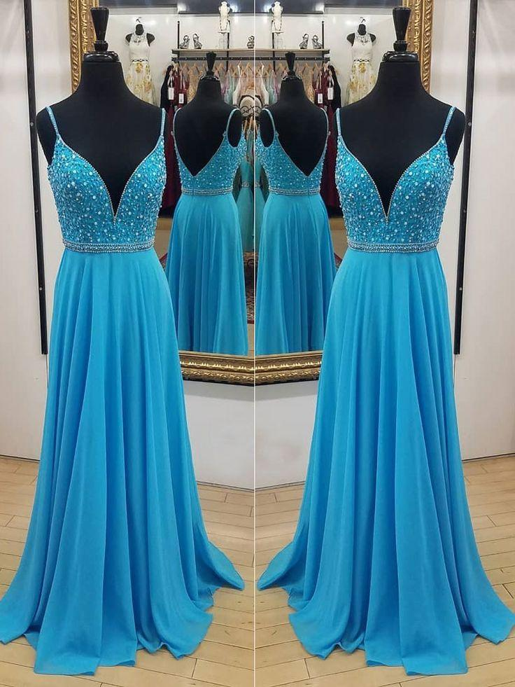Mariage - Long Chiffon Cheap Beaded Prom Dresses Spaghetti Strap V Neck Backless Formal Evening Dress APD3324