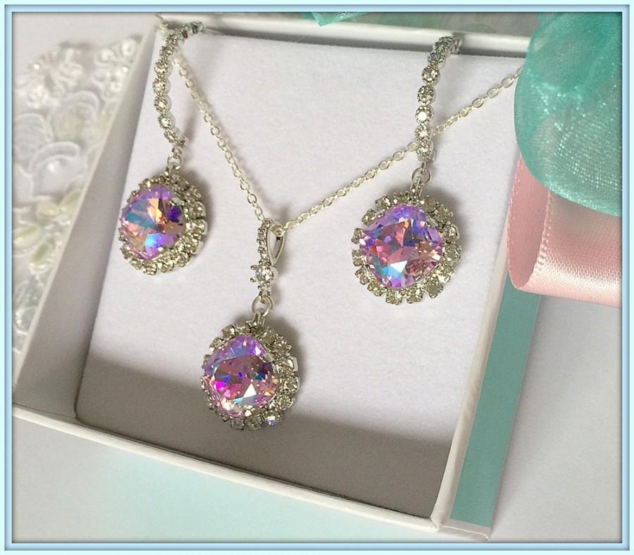 زفاف - Violet Glacier Blue Jewelry Set,Beautiful Swarovski 3 Dimensional Stones Reflecting Spring and Summer Colors,Bridesmaids Gifts,Many Colors