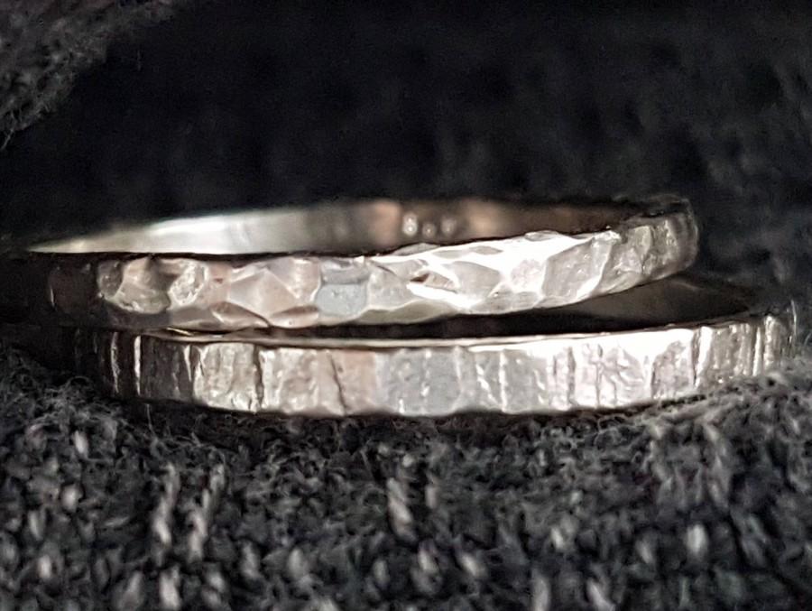 زفاف - Sterling Silver Rings, Engagement Rings, Faceted Ring, Hammered Texture Ring, Wedding Rings, Stacking Rings, Silver Jewelry, Handmade
