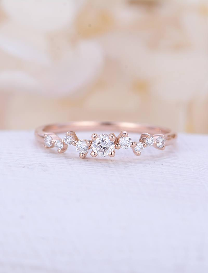 Wedding - Diamond Cluster ring Twig engagement Ring Rose Gold Mini Floral Unique Wedding Band Women Bridal set Jewelry Multi Gift Promise Anniversary