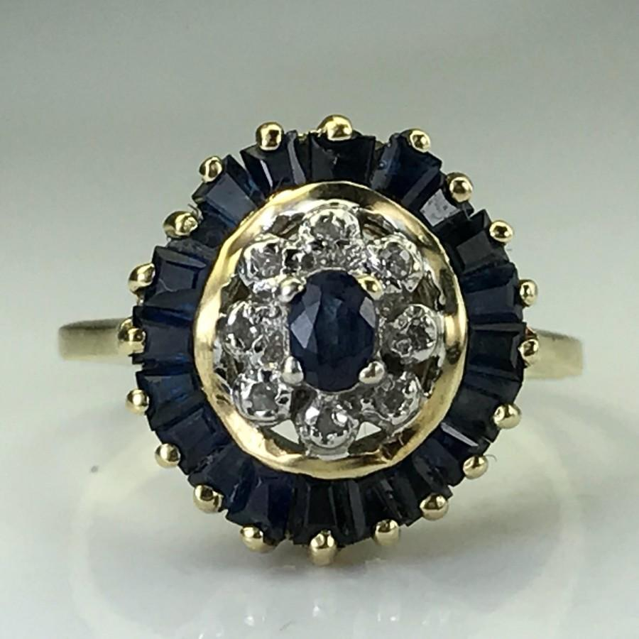Wedding - Vintage Sapphire and Diamond Halo Ring. 10K Yellow Gold. Unique Engagement Ring. September Birthstone. 5th Anniversary Gift. Estate Jewelry