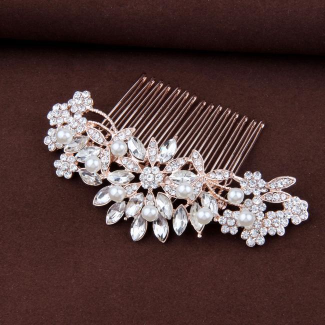 "Свадьба - Pearl & Crystal Rose Gold Hair Comb For Bride - ""Rebecca"""