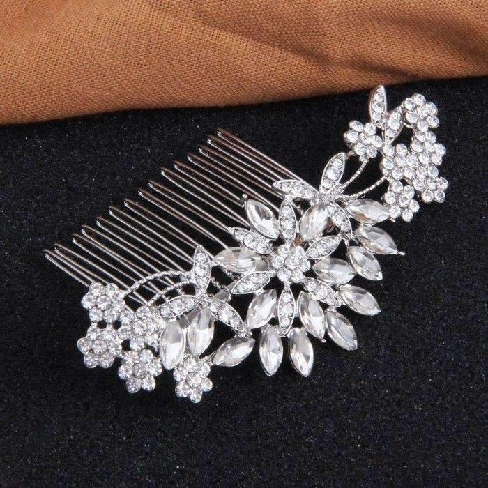 """Свадьба - Vintage Silver Crystal Bridal Hair Comb for Bride - """"Christine"""""""