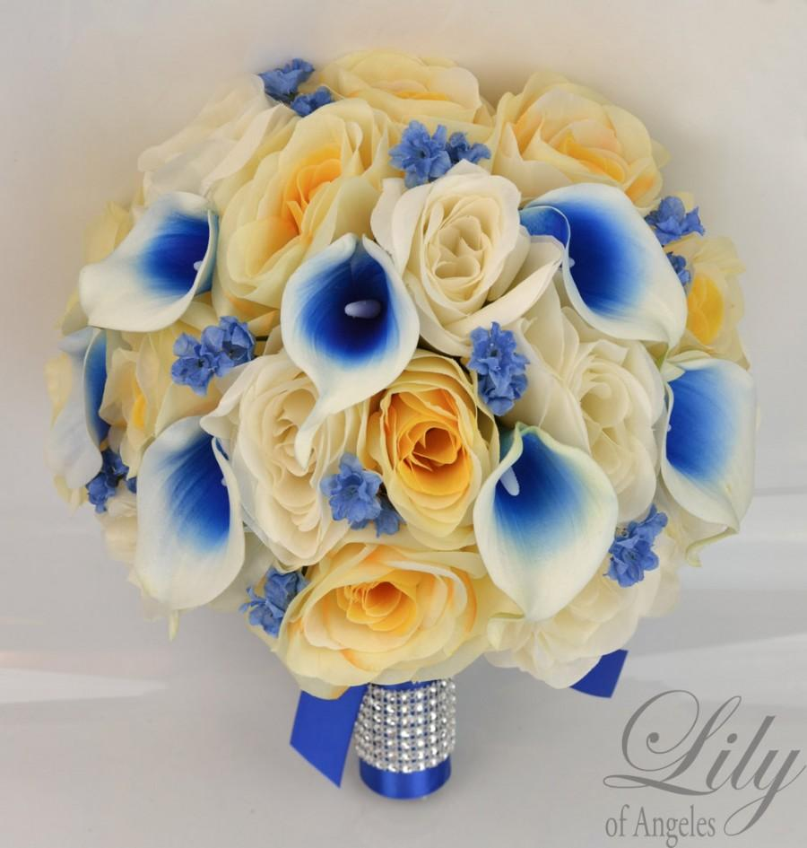 """Свадьба - 17 Piece Package Wedding Bridal Bouquet Silk Flowers Bouquets Bride Picasso Calla Lily Royal BLUE IVORY YELLOW """"Lily of Angeles"""" YEBL02"""