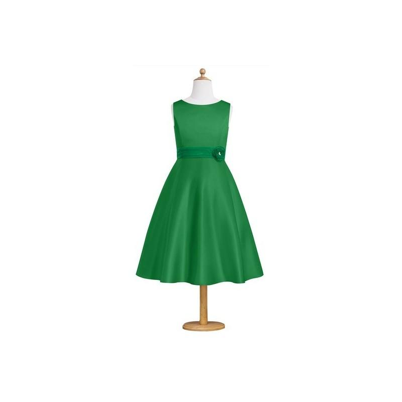 Wedding - Emerald Azazie Merida JBD - Organza And Satin Boatneck Bow/Tie Back Tea Length Dress - Simple Bridesmaid Dresses & Easy Wedding Dresses