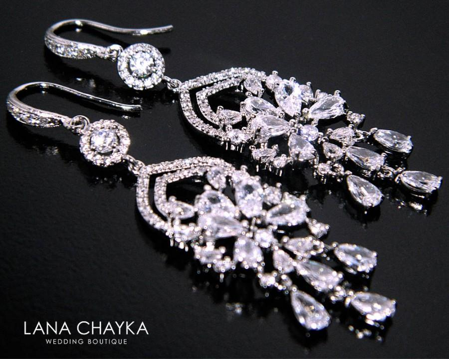 Mariage - Crystal Bridal Earrings, Cubic Zirconia Chandelier Earrings, Wedding CZ Dangle Earrings, Sparkly Crystal Earrings, Prom Crystal Jewelry - $39.50 USD