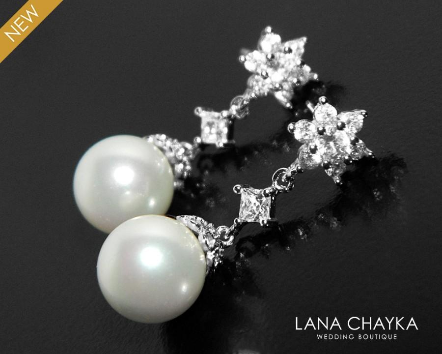Mariage - Pearl Bridal Earrings, White Pearl Silver Earrings, Wedding Pearl Earrings, Pearl Bridal Jewelry, Pearl Cubic Zirconia Chandelier Earrings - $30.90 USD