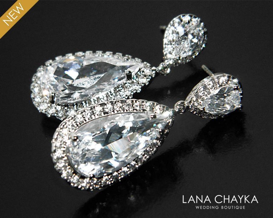 Mariage - Cubic Zirconia Bridal Earrings, Teardrop Crystal Wedding Earrings, CZ Chandelier Earrings, Bridal Crystal Earrings, Prom Crystal Earrings - $31.90 USD