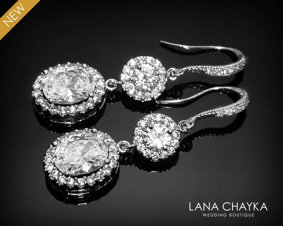Mariage - Cubic Zirconia Bridal Earrings Crystal Oval Wedding Earrings CZ Dangle Sparkly Earrings Bridal Jewelry Vintage Style Earrings Prom Earrings - $37.90 USD