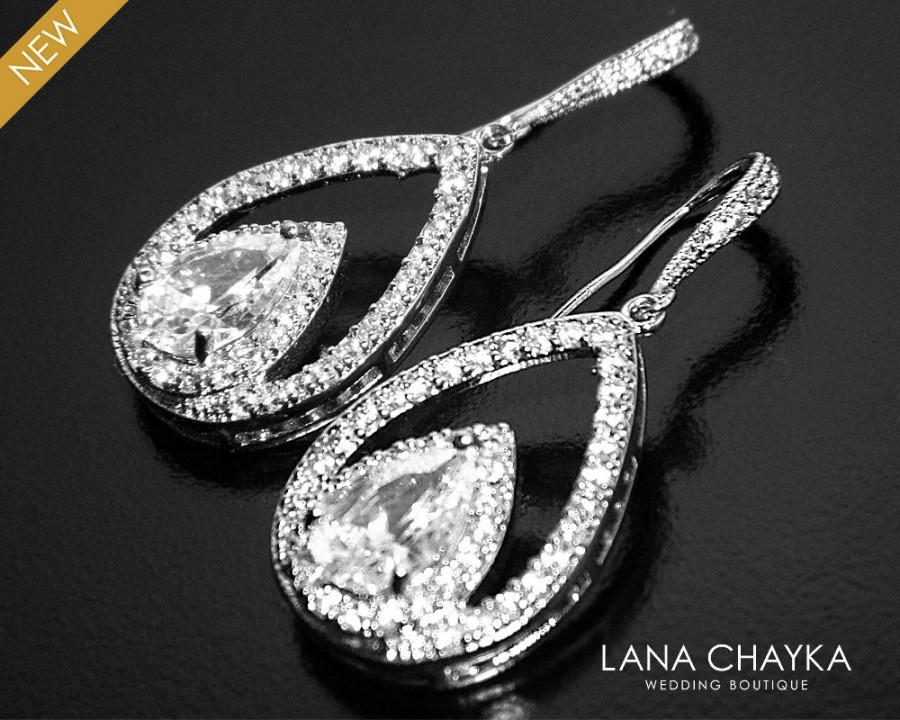 Mariage - Crystal Bridal Earrings, Cubic Zirconia Teardrop Earrings, Chandelier Crystal Wedding Earrings, CZ Dangle Earrings, Bridal Prom Jewelry - $36.90 USD