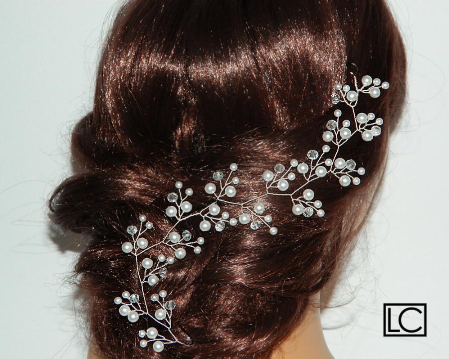 Wedding - Pearl Crystal Bridal Hair Vine, Wedding Hair Piece, White Pearl Wreath, Bridal Pearl Headpiece, Wedding Pearl Wreath, Bridal Hair Jewelry - $22.90 USD