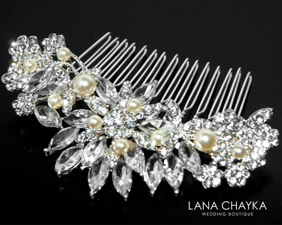 Wedding - Bridal Hair Comb, Crystal Floral Hair Comb, Wedding Crystal Silver Hair Piece Swarovski Pearl Crystal Comb Crystal Pearl Bridal Hair Jewelry - $30.90 USD