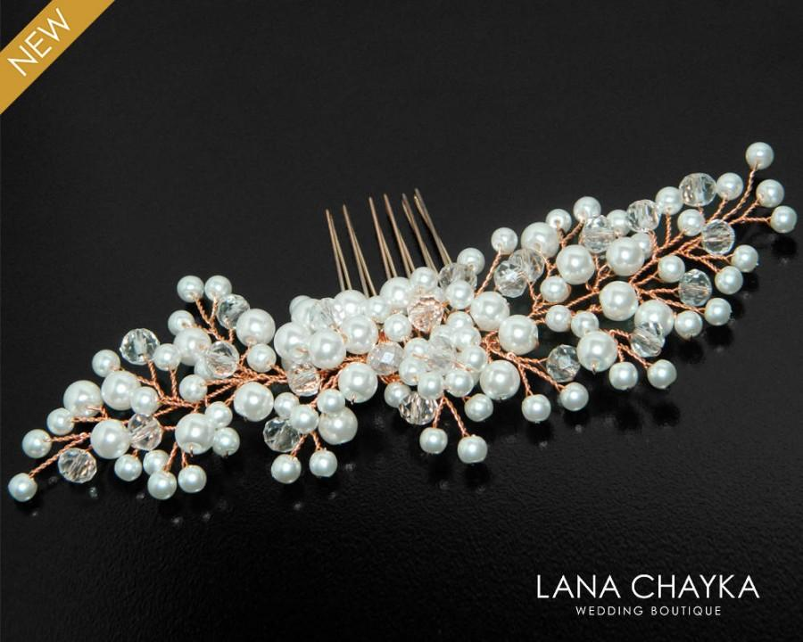 Wedding - Rose Gold Pearl Bridal Hair Comb, Wedding Hair Piece, White Pearl Crystal Pink Gold Comb, Pearl Hair Jewelry, Rose Gold Bridal Headpiece - $29.90 USD
