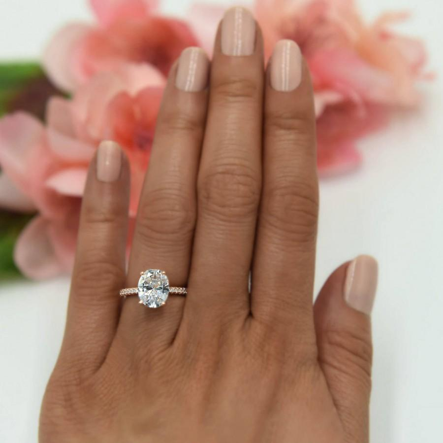 Hochzeit - 3.25 ctw Oval Accented Solitaire Ring, Blake Engagement Ring, Bridal Ring, Man Made Diamond Simulants, Sterling Silver, Rose Gold Plated