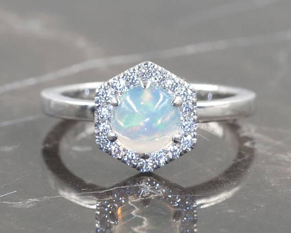 Hochzeit - Diamond Engagement Ring.OPAL Engagement Ring .14K Solid Rose Gold & Natural Diamonds.Hexagon Ring.Opal Bridal Ring.Art Deco Wedding Ring
