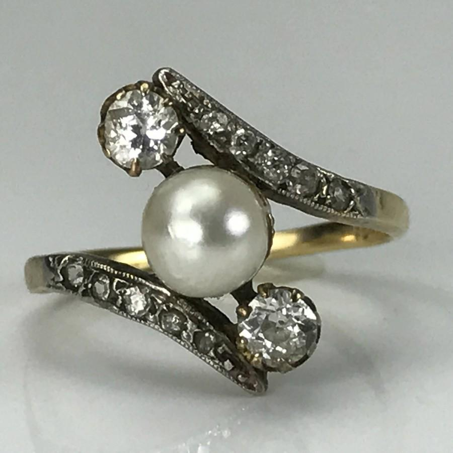 rings engagement amp white pearls matt gold japanese akoya pearl diamond ring aminoff image