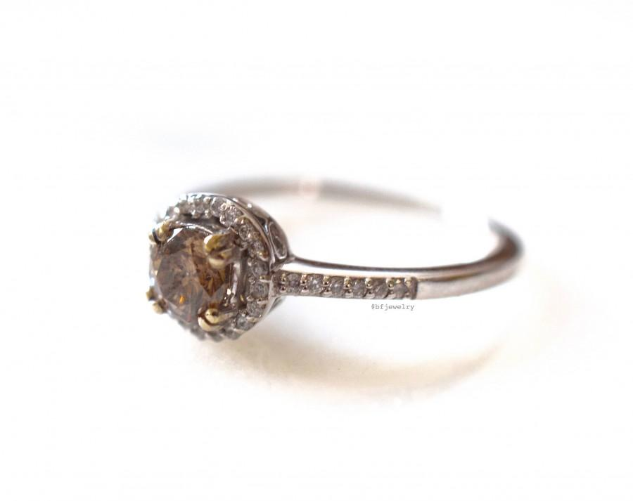 Hochzeit - 14K White Gold Chocolate Diamond Engagement Ring