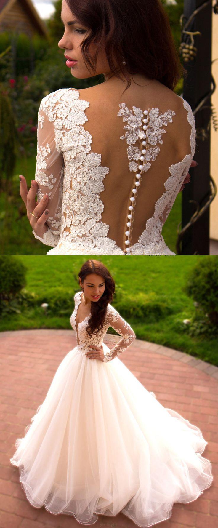 Wedding - Custom Made Long Sleeve Wedding Dress Long White Wedding Dresses With Tulle Zipper Applique Easy Dresses WF02G53-897