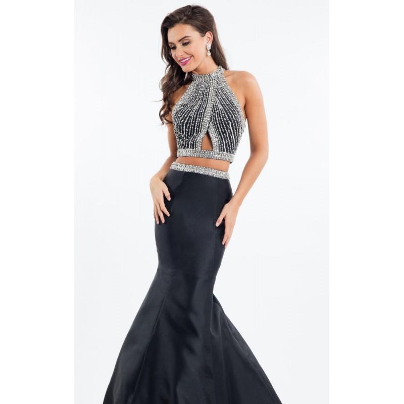 Wedding - Black Two-Piece Halter Mermaid Gown by Rachel Allan - Color Your Classy Wardrobe