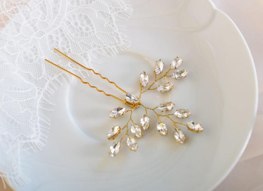 Hochzeit - Bridal Hair pins, Rose Gold Hair Pins, Bridal Headpiece, Wedding Hair Piece, Crystal Hair Pins, Bridal Hair Piece, Bridal Hair Jewelry