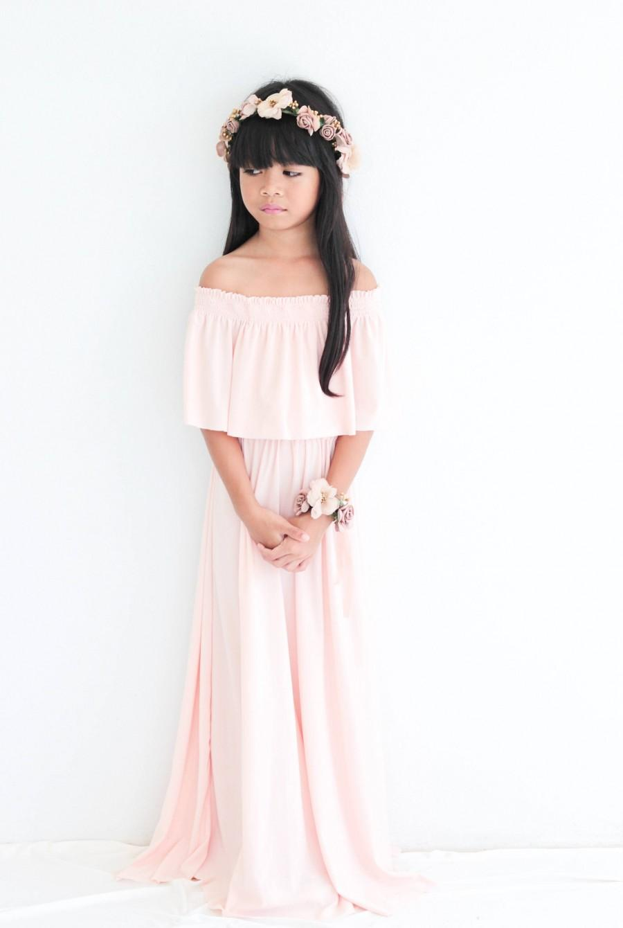 زفاف - Flower Gril Dress, Nude Pink Off The Shoulder Flower Gril Dress, Flower Gril dresses, Baby dresses