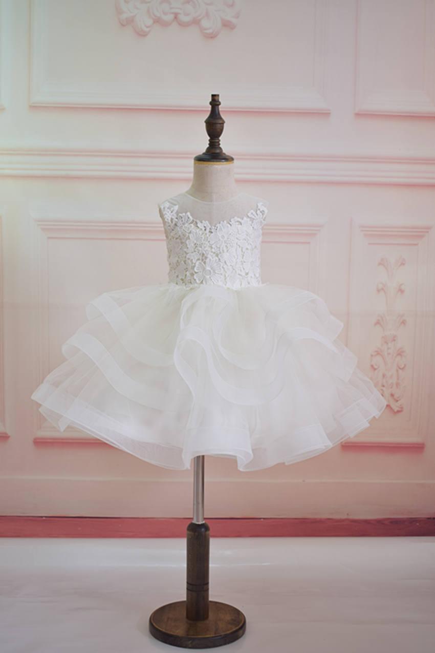 زفاف - Lace tulle wedding flower girl dress