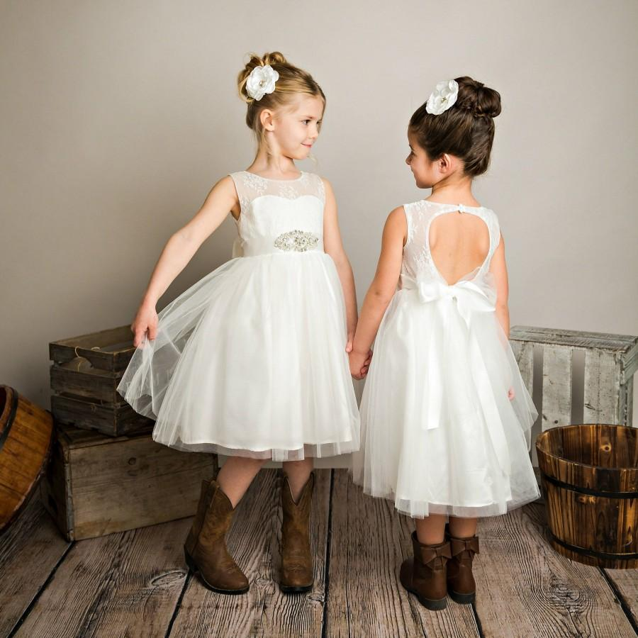 Open Back Flower Girl Dress Off White Flower Girl Dresses Lace