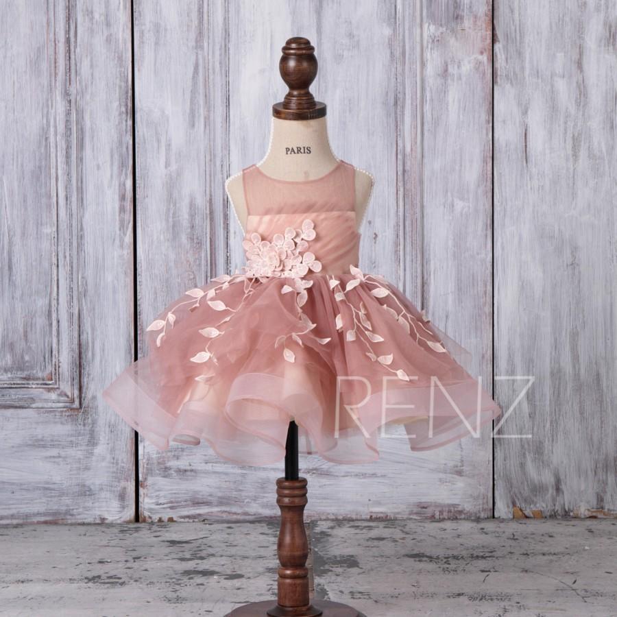 زفاف - Flower Girl Dress Dusty Pink TulleDress,Beaded Lace Girl Dress,Illusion Open Back Baby Party Dress Princess Dress Bridesmaid Dress(HK518)