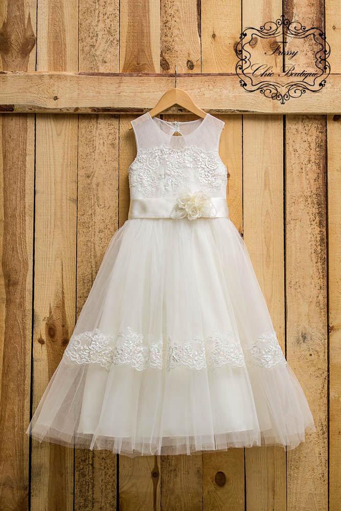 زفاف - Dress girl ivory first communion dress lace flower girl dress tulle princess dresses toddler girls tutu dress wedding champagne dress ivory