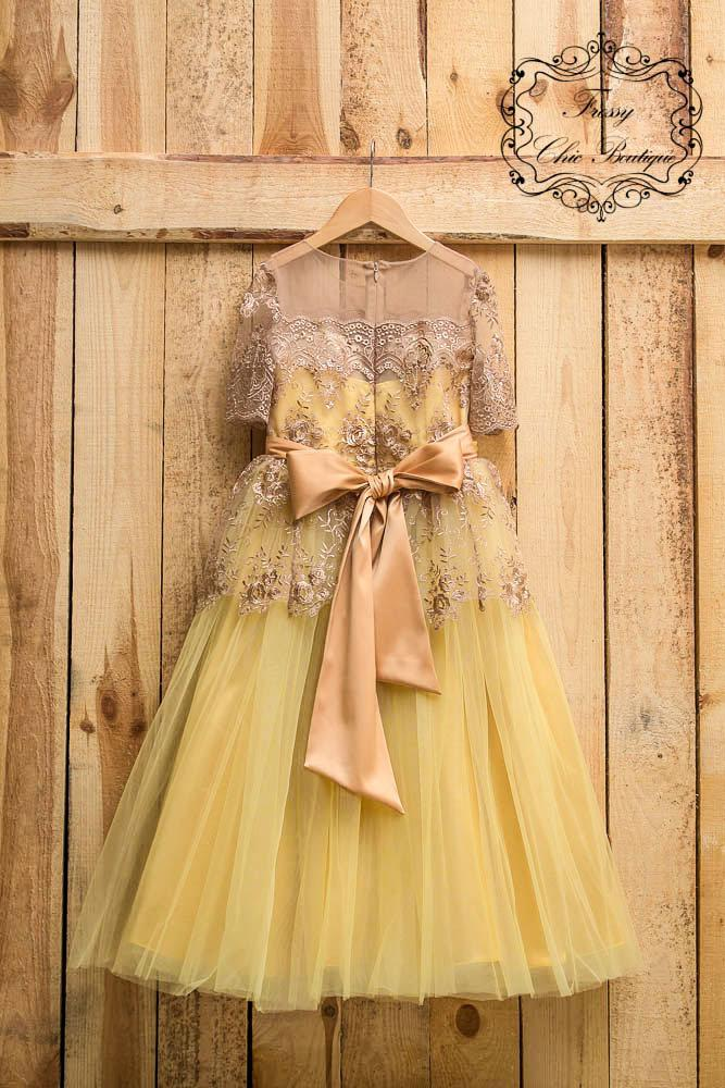 Hochzeit - Yellow  tutu dress tulle gown flower girl dresses flowergirl dress tulle  toddler lace flower girl rustic flower girl tulle lace dress