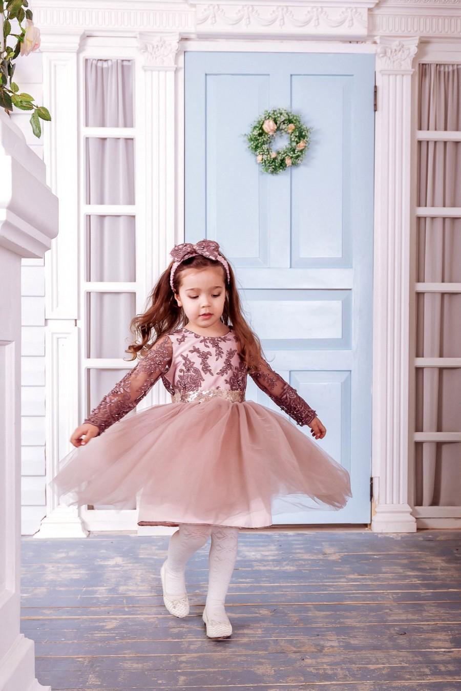 زفاف - Flower Girl Dress Tulle, Cocoa Flower Girl Dress, Junior Bridesmaid, Birthday Dress, Long Sleeves Dress, Bridesmaid Dress, Girls Dress,Girls