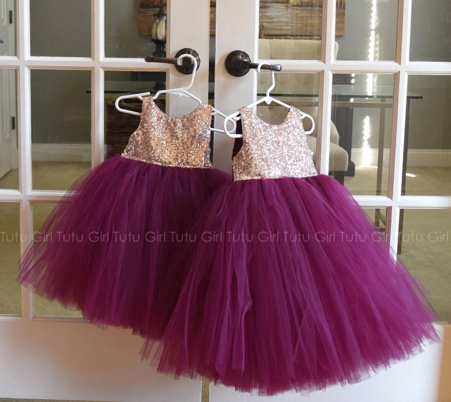 2483bc0dc8 Burgundy Flower Girl Dress Wine, Flower Girl Tutu Dress, Wine Tulle Dress,  Sequin and Tulle Flower Girl Dress, Toddler, Baby, Girls