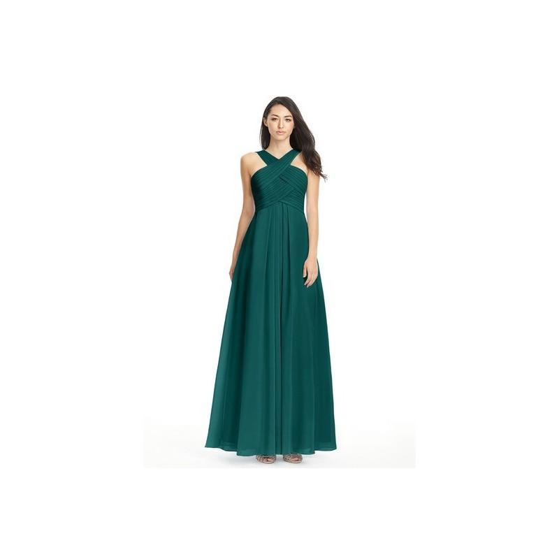 Wedding - Peacock Azazie Kaleigh - Floor Length Chiffon Back Zip V Neck Dress - Simple Bridesmaid Dresses & Easy Wedding Dresses
