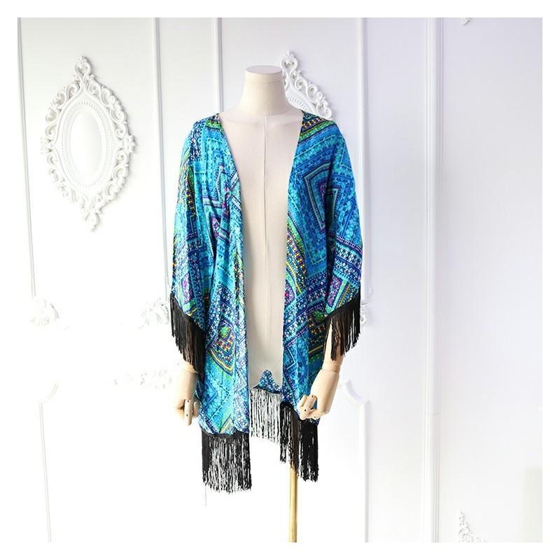 Свадьба - Printed Fringe V-neck 3/4 Sleeves Top Cardigan Blouse - Discount Fashion in beenono