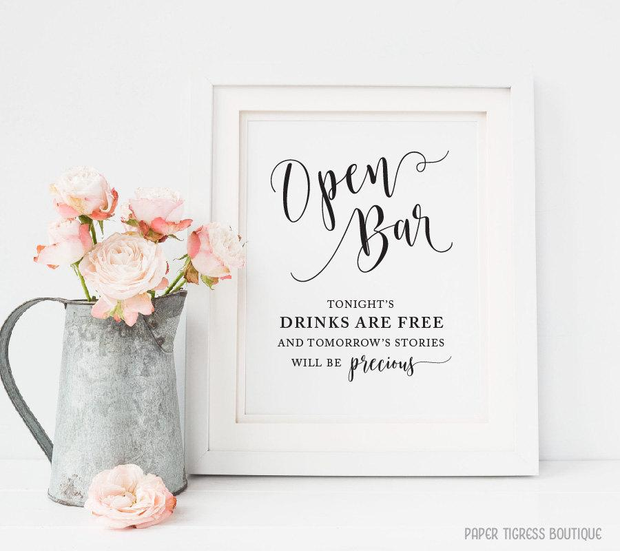 Wedding Open Bar Sign Printable Wedding Alcohol Signs Wedding