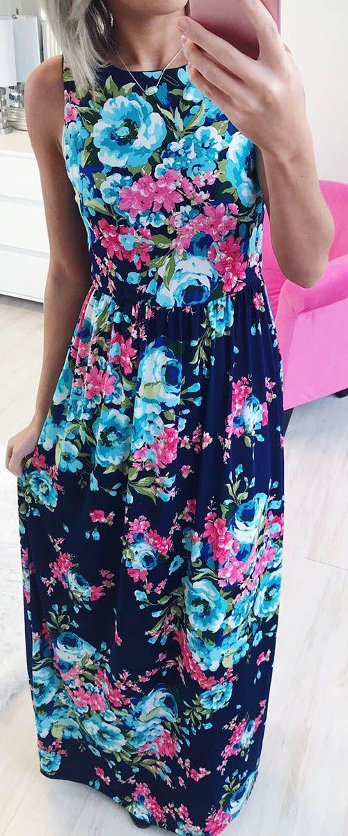 Mariage - Bold And Beautiful Maxi In Navy Floral