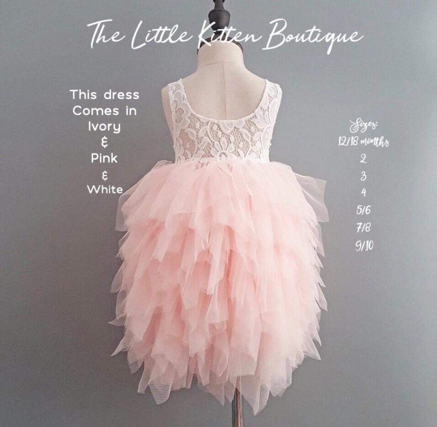 Pink Flower Girl Dress Blush Flower Girl Dress White Lace Flower