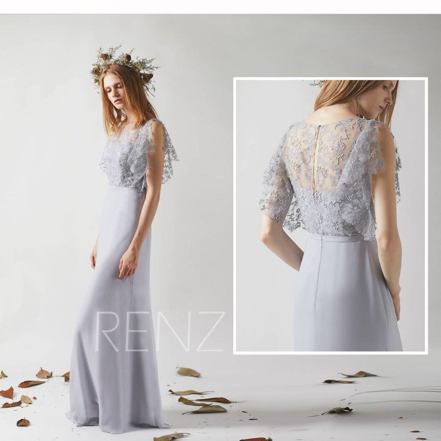 Hochzeit - Bridesmaid Dress Light Gray Chiffon Dress Party Dress,Lace Illusion Ruffle Sleeve Maxi Dress,Fitted Long Evening Dress Wedding Dress(H441)