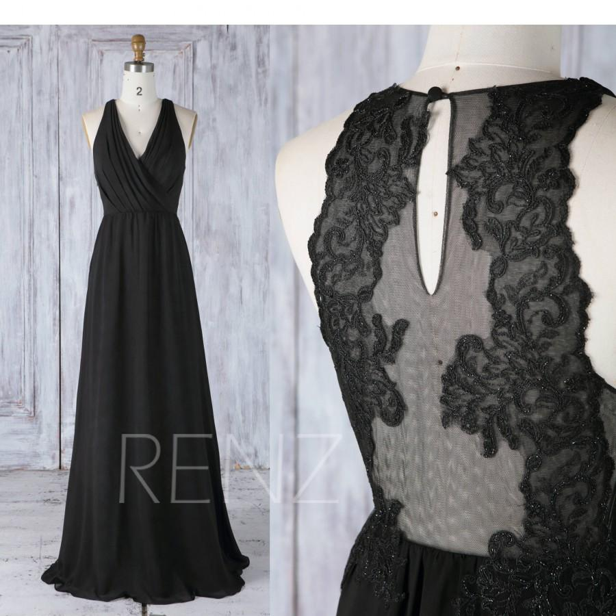 be51e665367b Bridesmaid Dress Black Chiffon Ruched V Neck Wedding Dress,Illusion Lace  Back Long Cocktail Dress,Sleeveless Maxi Dress Full Length(L343)