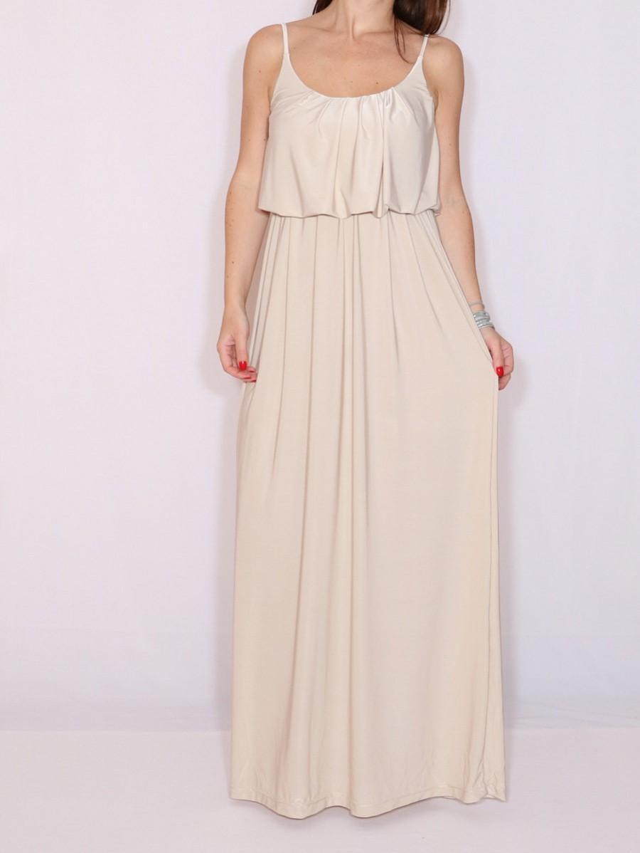 245f641dc15 Beige dress Maxi dress Bridesmaid dress Boho dress Summer dress Prom dress  Casual dress Tan dress Spaghetti strap dress