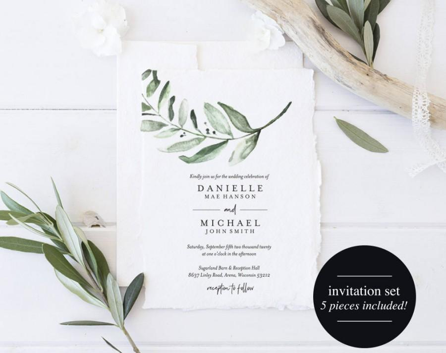 Greenery Wedding Invitation Template Wedding Invite Eucalyptus
