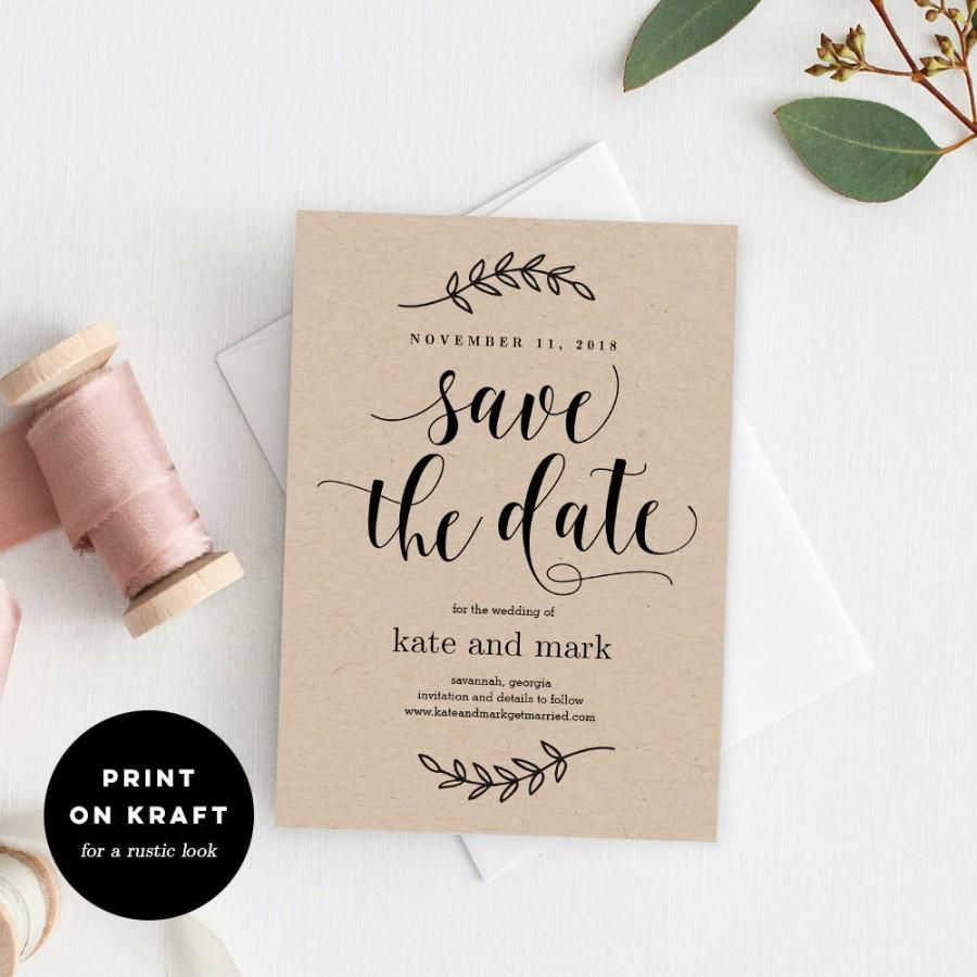Wedding - Printable Save The Date Template - Rustic Wedding Save The Date Card - Instant Download - Rustic Elegance #REC